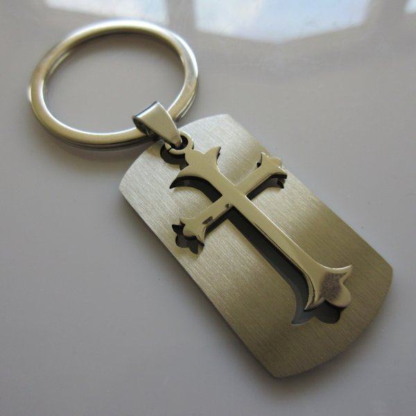 Acorn Cross Dog Tag Key Ring ~ Stainless Steel