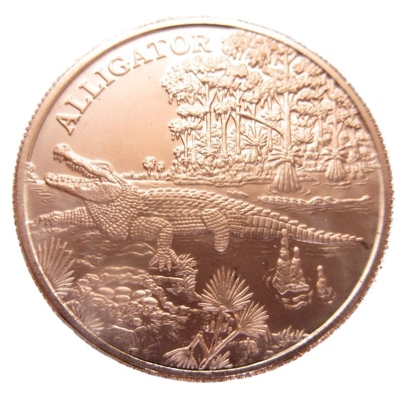 Alligator (Wildlife Series) 1 oz .999 Pure Copper Coin