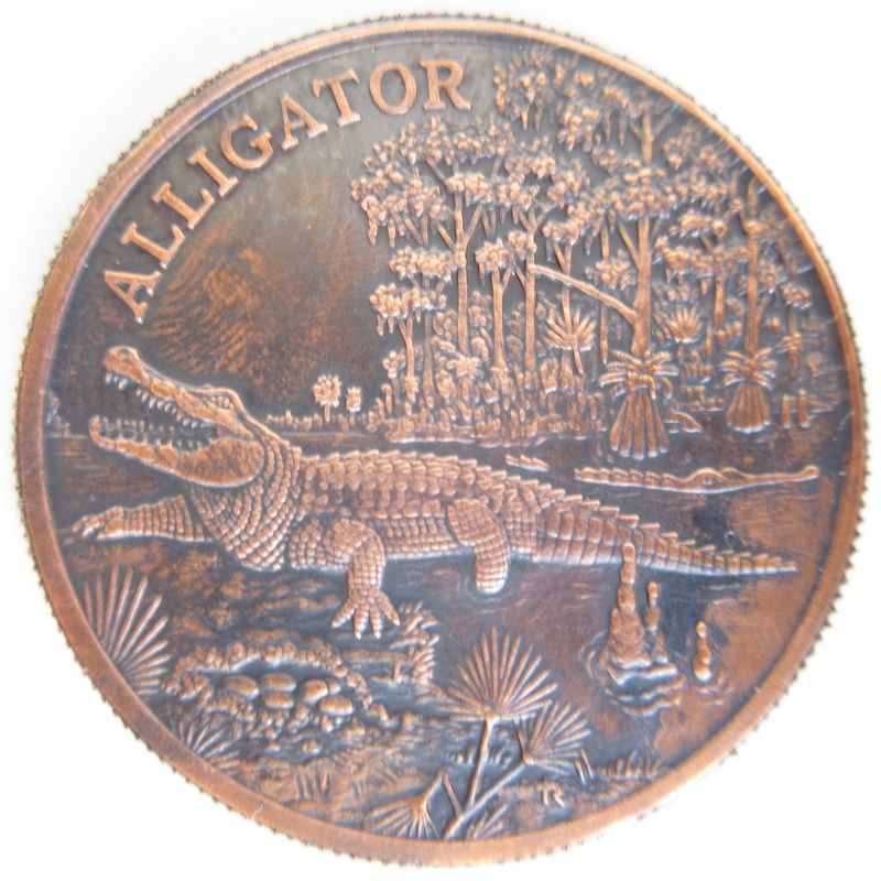 Alligator (Wildlife Series) 1 oz .999 Pure Copper Coin (Black Patina)