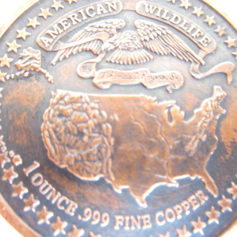 Alligator (Wildlife Series) 1 oz .999 Pure Copper Round (Black Patina)