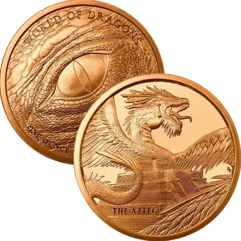 The Aztec #1 (World Of Dragons Series) 1 oz .999 Pure Copper Round