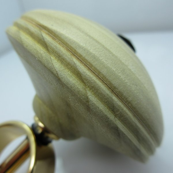 Hand Turned Spinning Top #01 in (Poplar) 24kt Gold