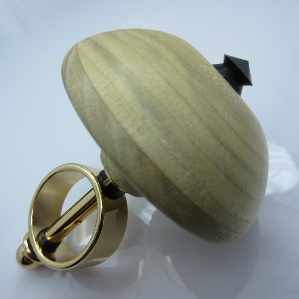 Hand Turned Spinning Top #02 in (Poplar) 24kt Gold