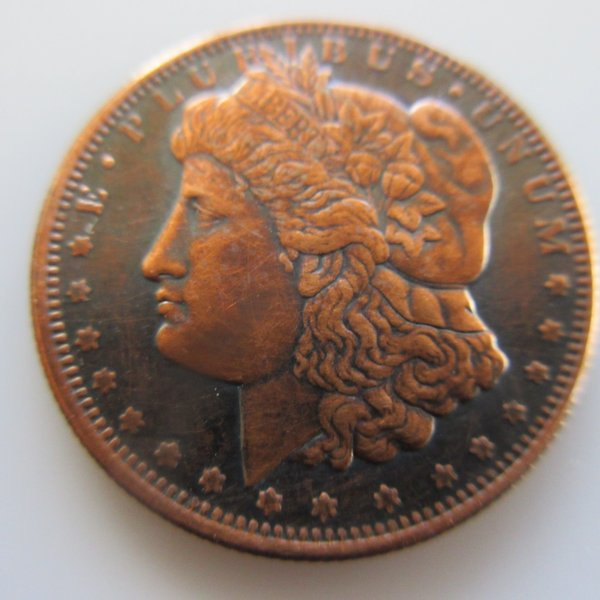 1/4 oz Morgan .999 Pure Copper Coin (Black Patina)