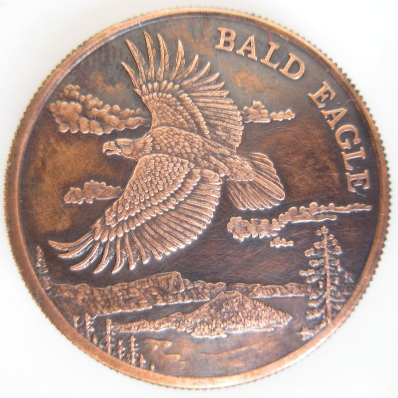 Bald Eagle (Wildlife Series) 1 oz .999 Pure Copper Coin (Black Patina)