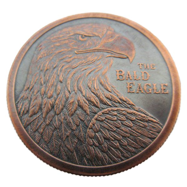 Bald Eagle 1 oz .999 Pure Copper Coin (Black Patina)