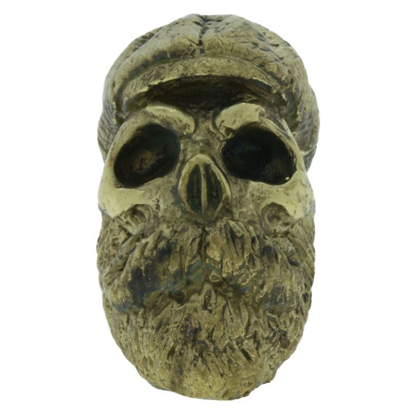 "Bearded Skull In Brass By Maker ""Aristarch Garilla"""