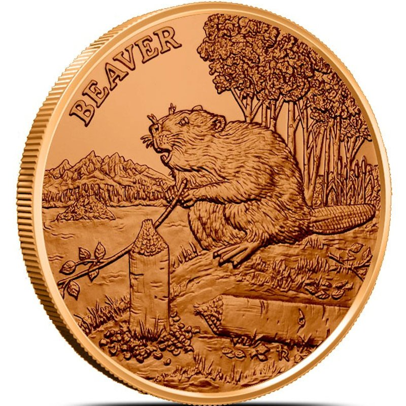 Beaver (American Wildlife Series) 1 oz .999 Pure Copper Round