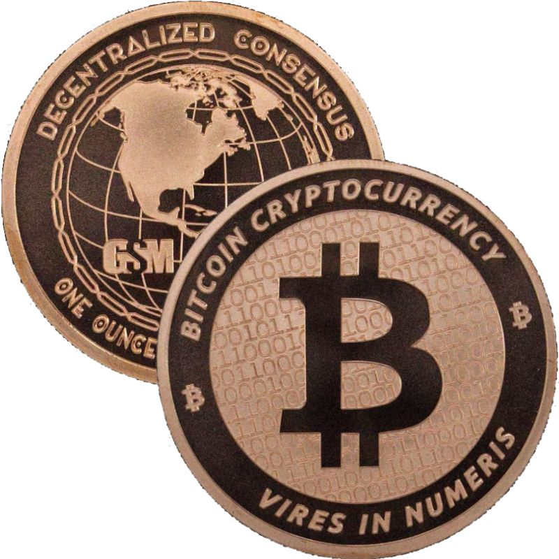 Bitcoin - Cryptocurrency (Golden State Mint) 1 oz .999 Pure Copper Round