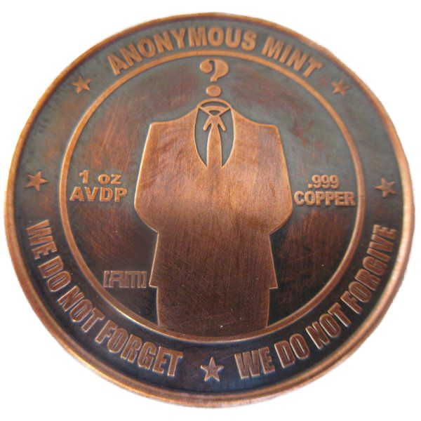 Bitcon - Anonymous Man 1 oz .999 Pure Copper Coin (Black Patina)