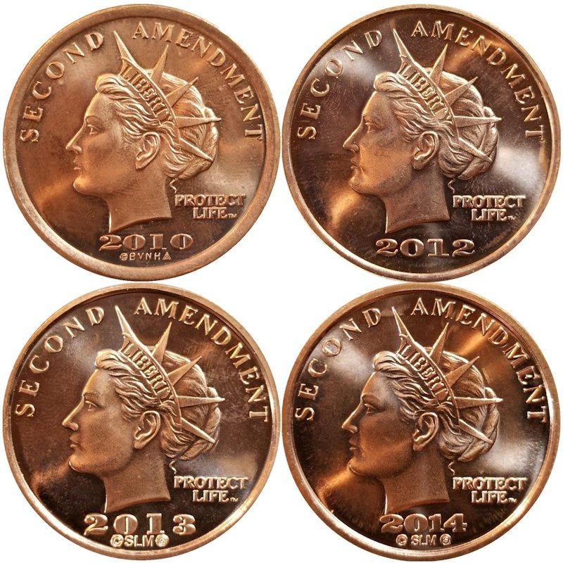 Set Of (4) Different Second Amendment Liberty Gun Dollar Series 1 oz .999 Pure Copper Rounds
