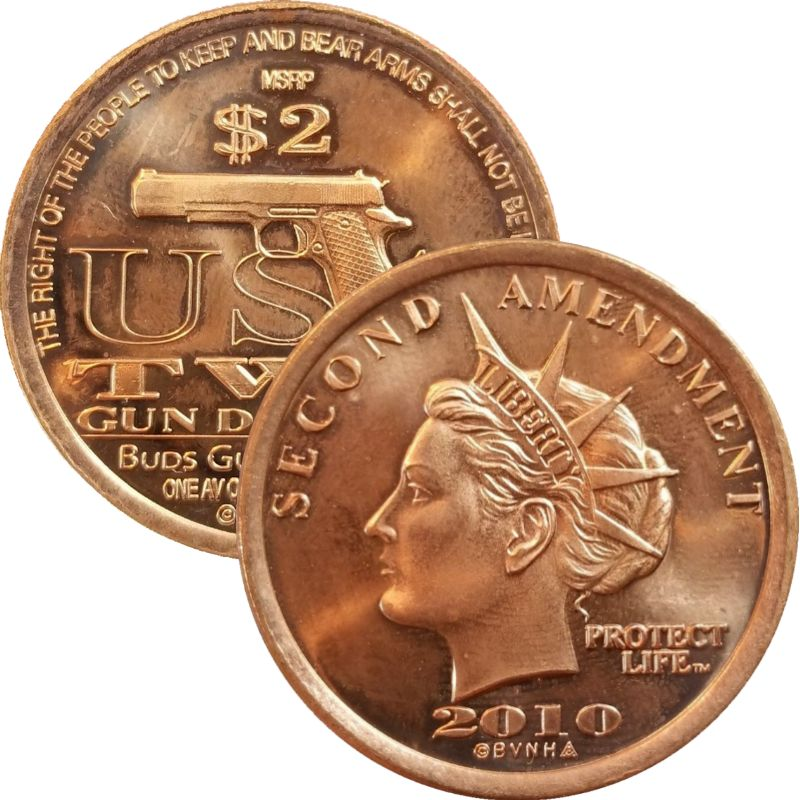 Second Amendment Liberty 2010 Semi-Automatic Handgun 1 oz .999 Pure Copper Round