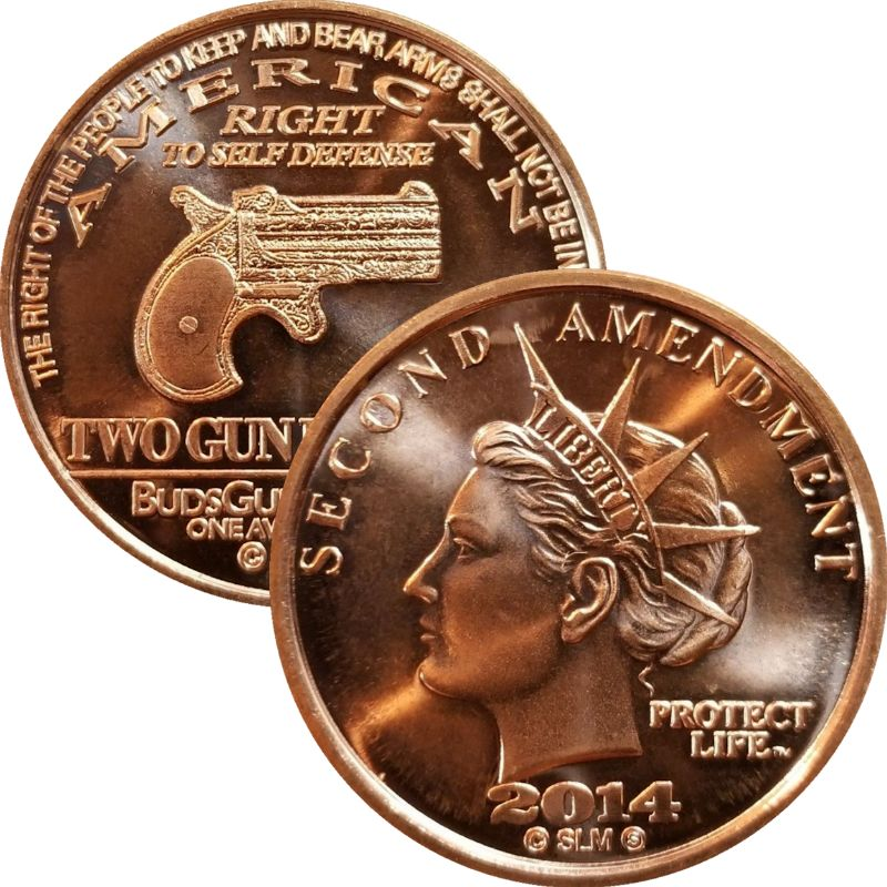 Second Amendment Liberty 2014 Derringer Handgun 1 oz .999 Pure Copper Round
