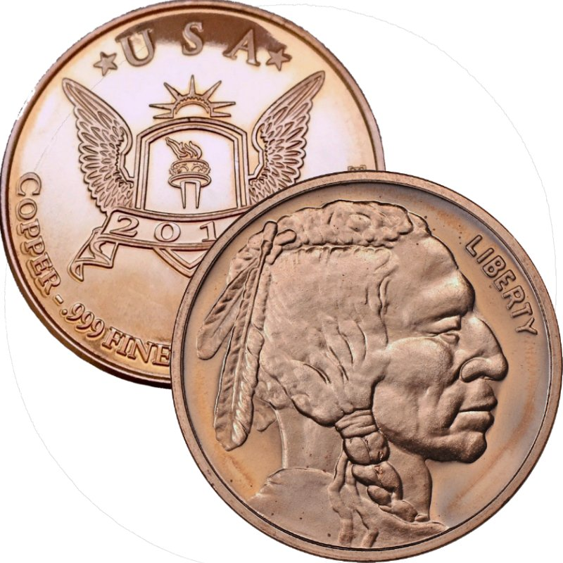 Buffalo Nickel ~ Indian Head  (Wings & Torch Back) (2010) 1 oz .999 Pure Copper Round