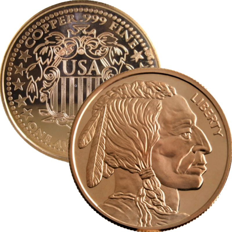 Buffalo Nickel ~ Indian Head  Design (Shield Back ~ 2011) 1 oz .999 Pure Copper Round