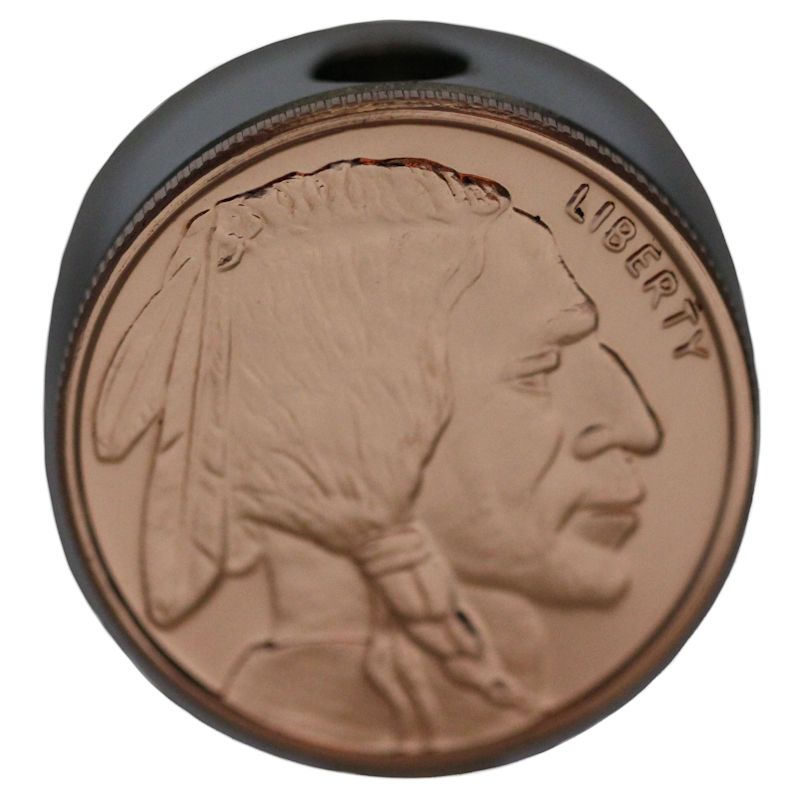 Buffalo Nickel Design (Polished Copper) Stainless Steel Core Lanyard Bead By Barter Wear
