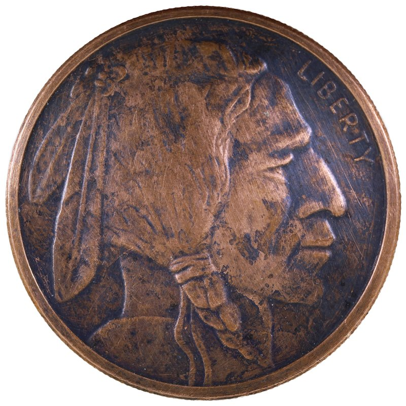 Buffalo Nickel Design 1 oz .999 Pure Copper Round (Golden State Mint) (Black Patina)