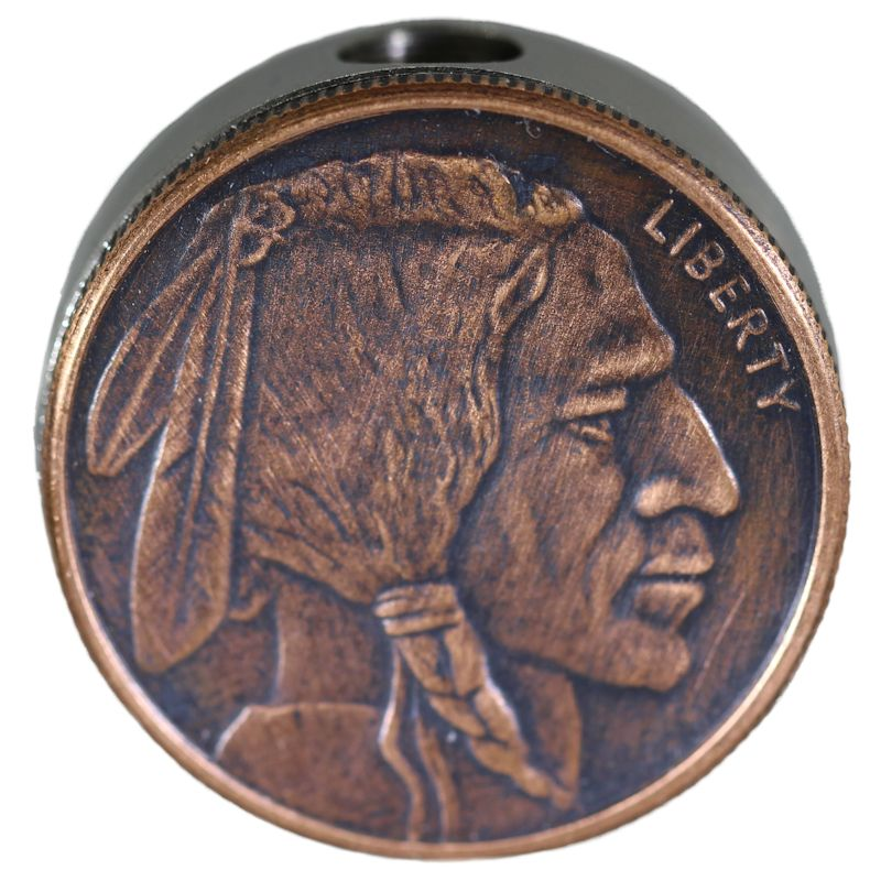 Buffalo Nickel Design In Copper (Black Patina) Stainless Steel Core Lanyard Bead By Barter Wear