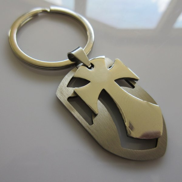 Chopper Cross Shield Key Ring ~ Stainless Steel