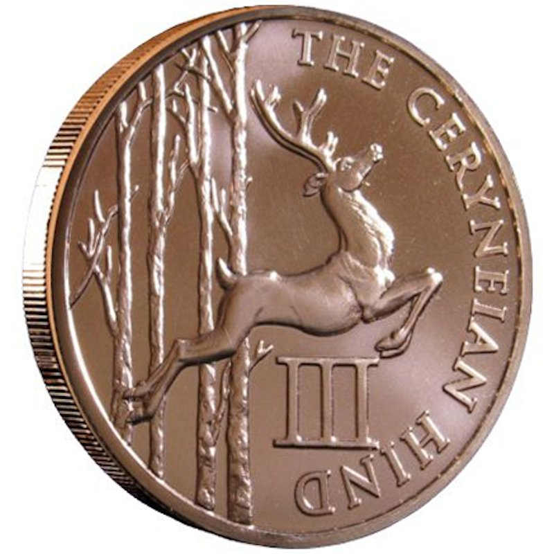 Ceryneian Hind 1 oz .999 Pure Copper Round (3rd Design of the 12 Labors of Hercules Series)