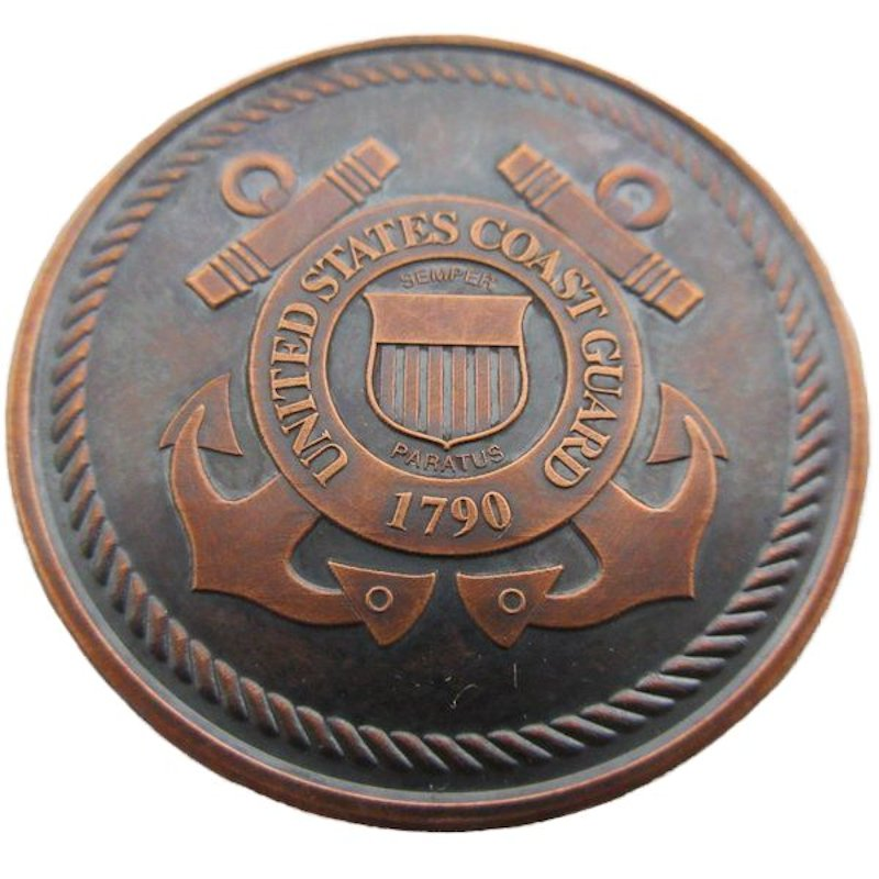 Armed Forces ~ Coast Guard 1 oz .999 Pure Copper Coin (Presston Mint) (Black Patina)