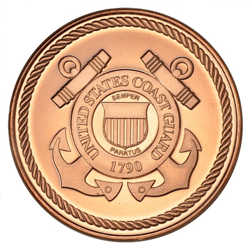Armed Forces ~ Coast Guard 1 oz .999 Pure Copper Coin (Presston Mint)