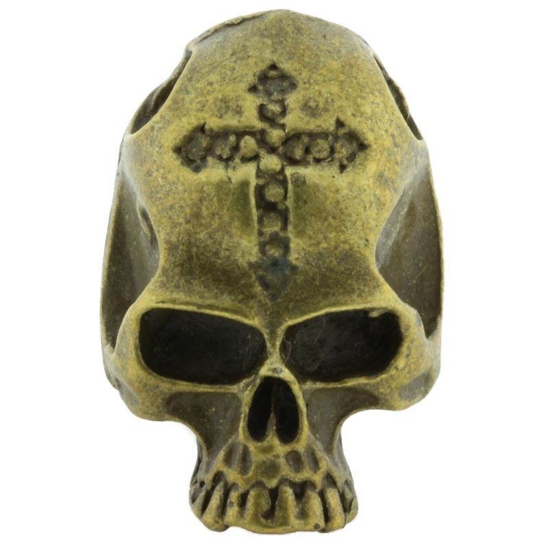 Cross Skull Bead in Brass