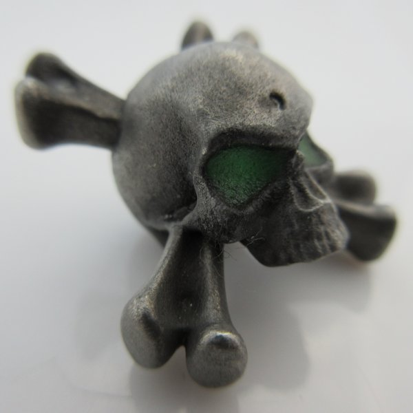 Crossbones Bead With Green Glow In The Dark Eyes in Pewter by Marco Magallona
