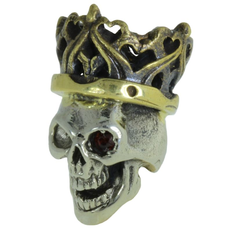 Cursed King in Brass/White Brass w/Red Garnet Eye (Black Patina Crown) by Covenant Everyday Gear