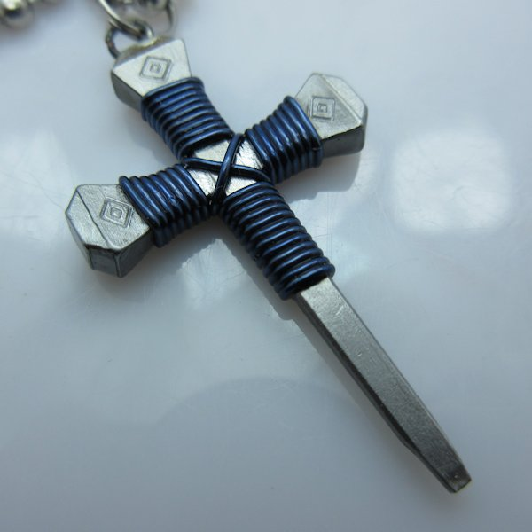 Nail Cross Ball Bead Necklace in Dark Blue By Mr. Willie Hess