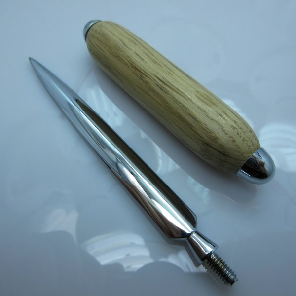 Hand Turned Deluxe Letter Opener #04 in (White Oak) Chrome