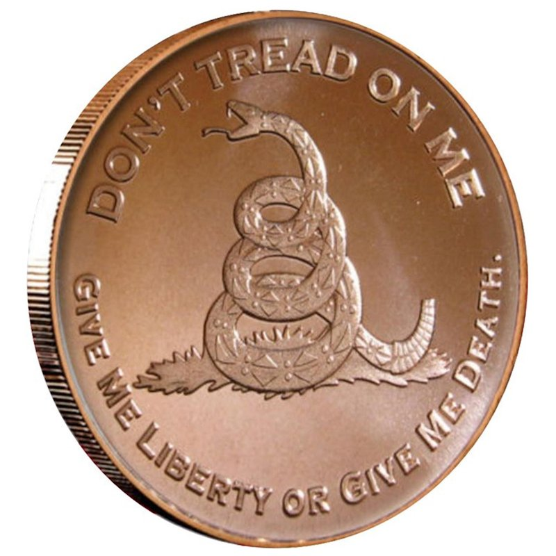 Don't Tread On Me 1 oz .999 Pure Copper Round (Presston Mint)