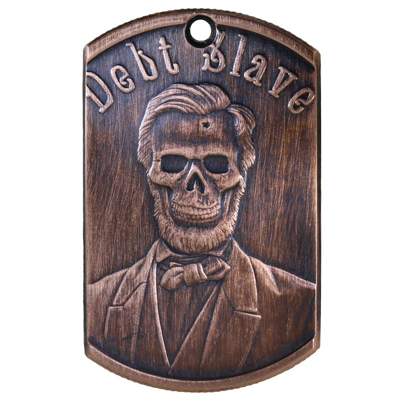 Debt Slave Copper Dog Tag Necklace