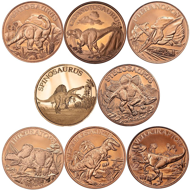 Complete Set of (8) Different Dinosaur Designs 1 oz .999 Pure Copper Rounds