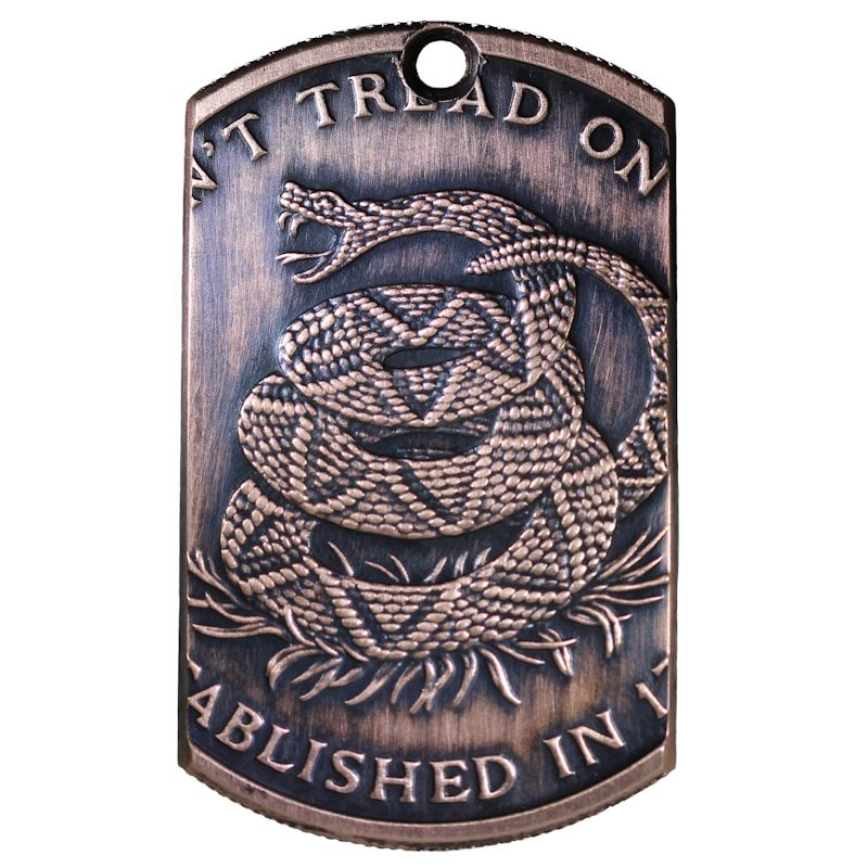 Don't Tread On Me Copper Dog Tag Necklace
