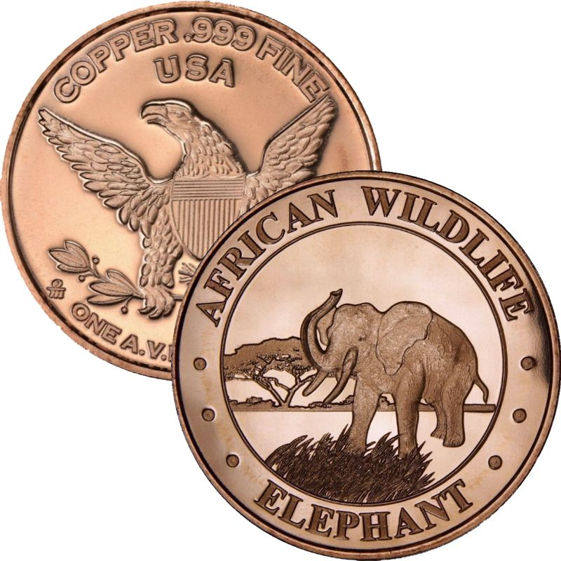 African Wildlife Elephant 1 oz .999 Pure Copper Round