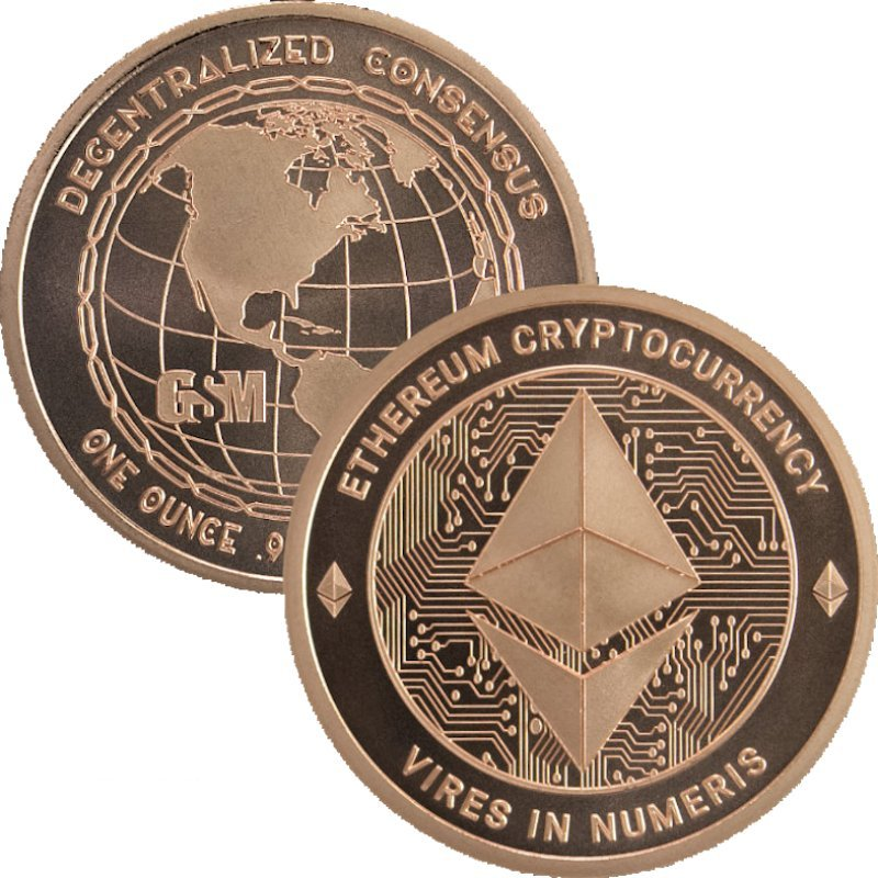 Ethereum - Cryptocurrency (Golden State Mint) 1 oz .999 Pure Copper Round