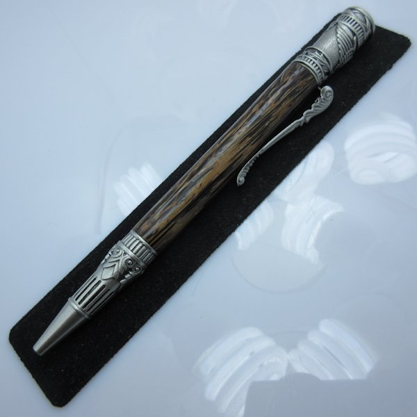 Hand Turned Federal Twist Pen in (Black Palm) Antique Pewter