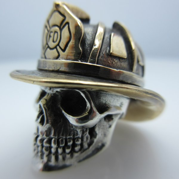 Firefighter in .925 Sterling Silver and Bronze by GD Skulls
