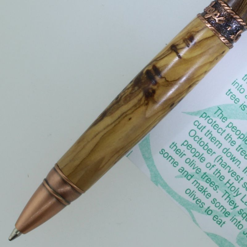 Faith, Hope, and Love Twist Pen in (Olive Wood from Bethlehem) Antique Copper