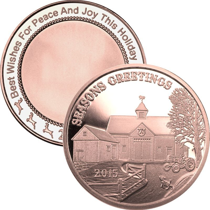Seasons Greetings Farmhouse 2015 SilverTowne Mint 1 oz .999 Pure Copper Round