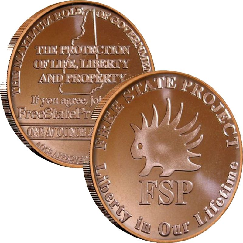 Free State Project (AOCS) (2010) 1 oz .999 Pure Copper Round