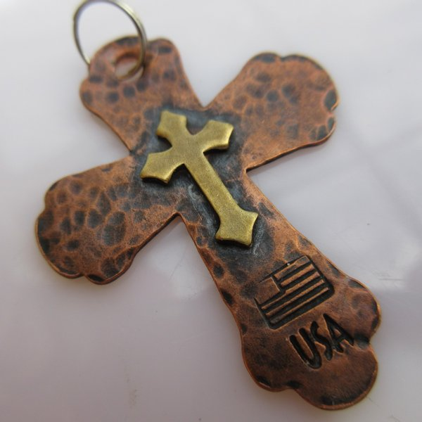 God & Country Double Cross in Copper and Brass