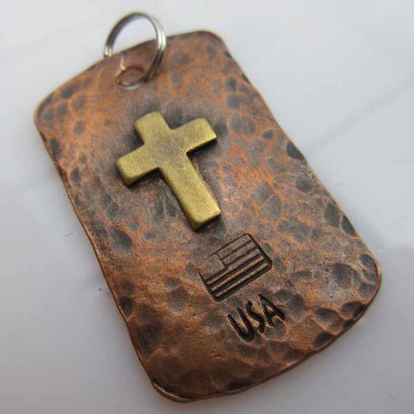 God & Country Cross Dog Tag in Copper and Brass