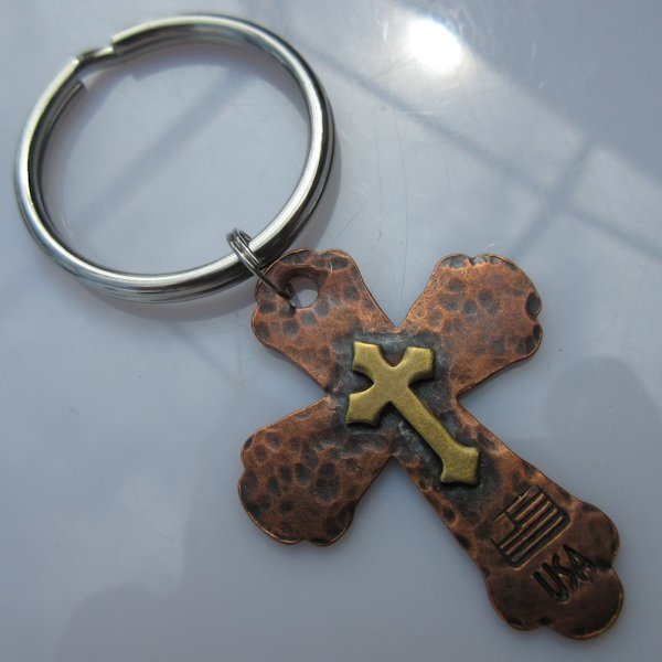 God & Country Double Cross Key Ring in Copper and Brass