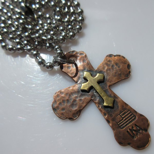 God & Country Double Cross Necklace in Copper and Brass