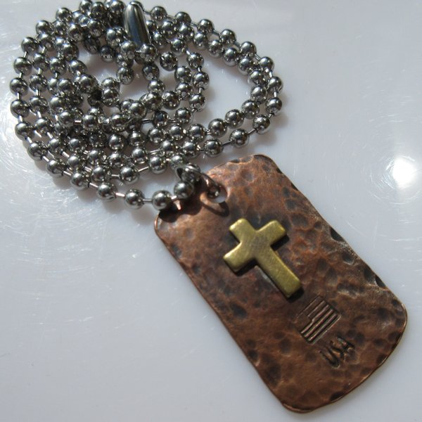 God & Country Cross Dog Tag Necklace in Copper and Brass