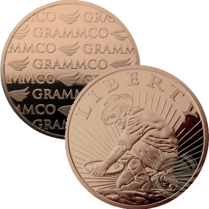 Liberty ~ Panning For Gold (GRAMMCO Great American Mint And Refinery) 1 oz .999 Pure Copper Round