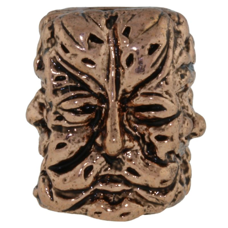 Green Man Bead in Antique Copper Finish by Schmuckatelli Co.