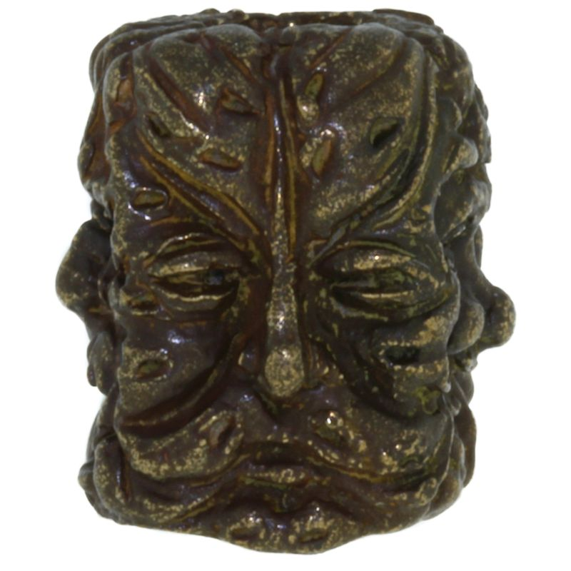 Green Man Bead in Solid Oil Rubbed Bronze by Schmuckatelli Co.